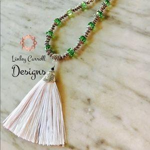 Jewelry - Peridot Swarovski Crystal Tassel Necklace